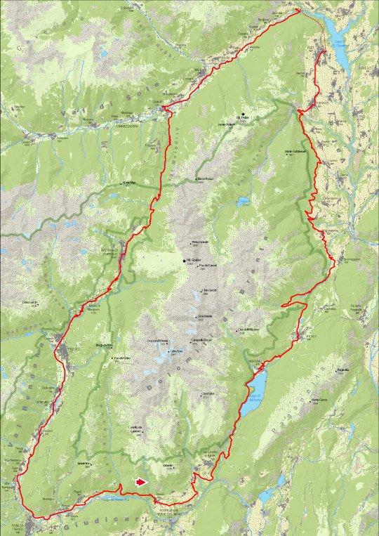 la mappa percorso dolomiti brenta bike