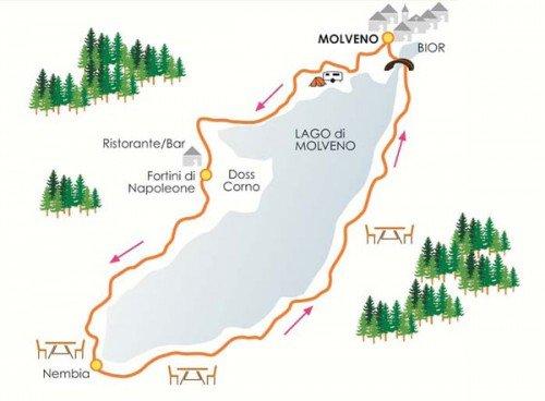 cartina con itinerario giro del lago di molveno