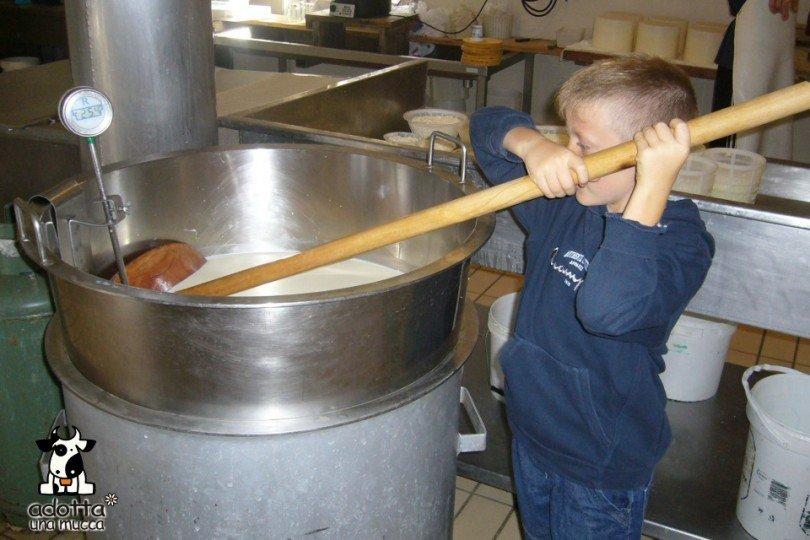 Un bambino mescola il latte, ci si prepara alla produzione del formaggio