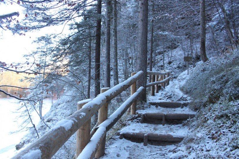 il sentiero dci porta in quota per ammirare il lago dall'alto
